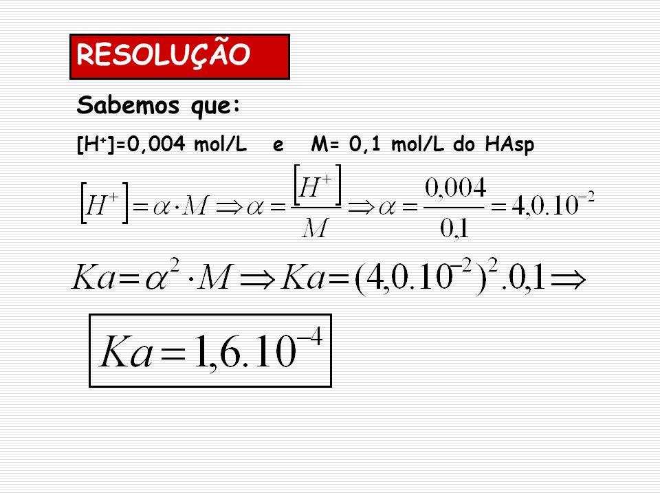 RESOLUÇÃO Sabemos que: [H+]=0,004 mol/L e M= 0,1 mol/L do HAsp